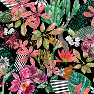 TROPICAT The TROPICAT Pattern for JCat Beauty features plants and flowers named after feline creatures: cattleya, plicatilis, tiger's claw, leopard lily, cat's tail flower, leopard flower, and catnip flower. 2018.